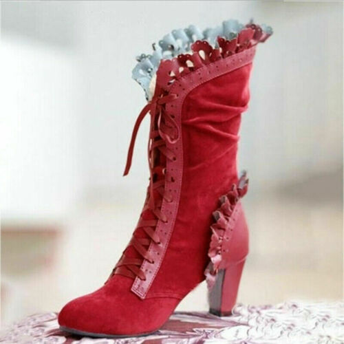 Details about  /Womens Vintage Gothic Medieval Mid-Calf Boots Lace Up High Heel Booties Shoes US