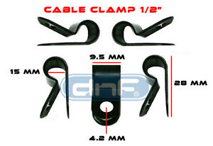 "SHIPS FREE TODAY! 100 PACK 1//4/"" BLACK NYLON CABLE CLAMP UV WEATHER RESISTANT"