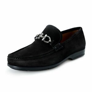 Salvatore-Ferragamo-Men-039-s-034-GEROLAMO-034-Black-Suede-Slip-On-Loafers-Shoes