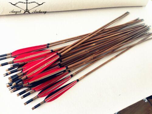 Handmade Bamboo arrows for Archery Hunting Longbow black/&red bamboo arrow 28-33/'