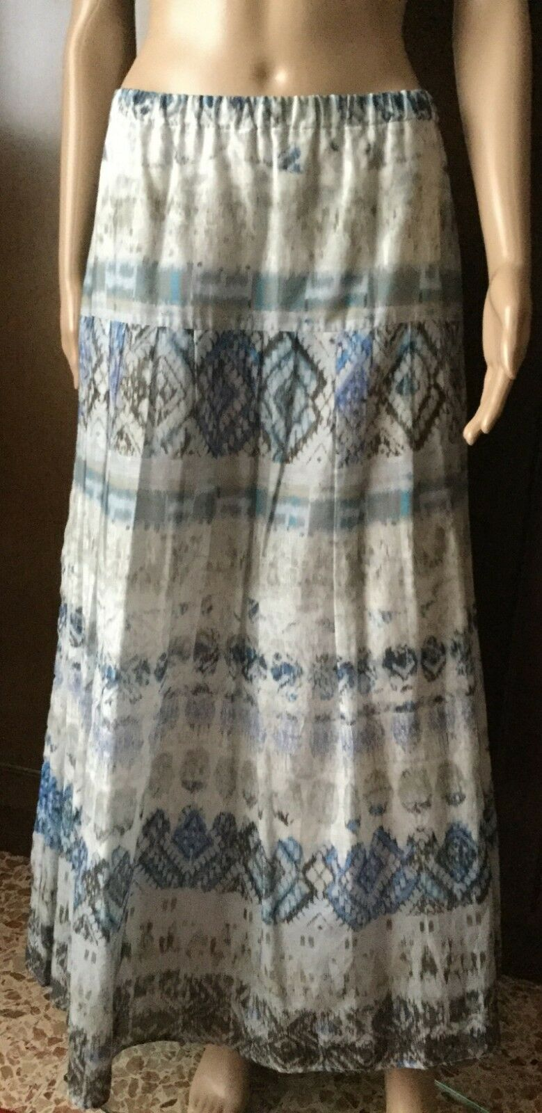 MARINA RINALDI Summer long skirt Woman, Größe 19 175   84Y silk Gonna damen, seta