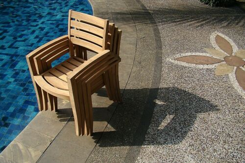 """11-Pc Outdoor Teak Dining Set: 117"""" Masc Oval Ext Table, 10 Stacking Chairs Trav 9780706909210"""