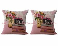 US SELLER- set of 2 vintage floral camera books cushion cover pillows for couch