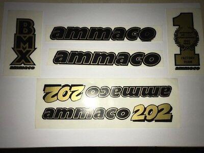 ORIGINAL AMMACO 202 BMX DECAL SET OLD SCHOOL BMX MADE IN 1980's TRANSFER  SET NO