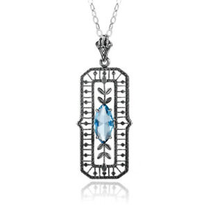 Authentic-Sterling-Silver-Pendant-Chain-Aquamarine-Crystal-Necklace-Link-Blue