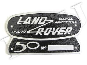 LAND-ROVER-SOLIHULL-WARWICKSHIRE-50TH-ANNIVERSARY-ORIGINAL-BADGE-NAMEPLATE