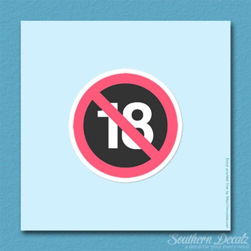 """c184-3.75/"""" x 3.75/"""" No One Under 18 Emoji Vinyl Decal Sticker"""