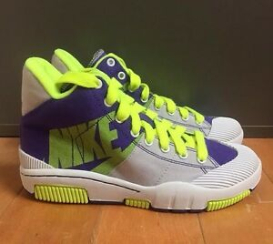 NIKE OUTBREAK HIGH PURPLE VOLT GREY CANVAS CASUAL WOMENS WMNS SZ 6-9  318635-571