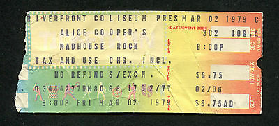 1979 Alice Cooper concert ticket stub Cincinnati Madhouse Rock From The Inside