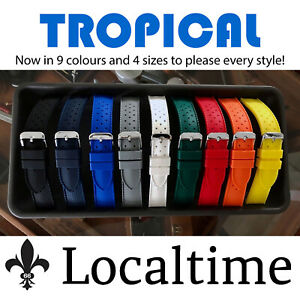 TROPICAL-Smooth-Silicone-Rubber-Sport-Dive-Watch-Strap-9-Colours-18-20-22-amp-24mm