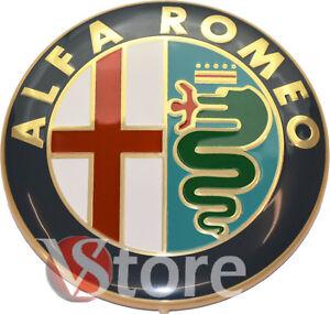 2-FREGI-STEMMA-ALFA-ROMEO-ORO-LOGO-74mm-COFANO-ANTERIORE-POSTERIORE-EMBLEMA-Gold