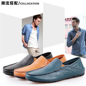 Men-Genuine-Leather-Casual-Loafers-Lazy-Flat-Driving-Moccasins-Peas-Boat-Slip-On