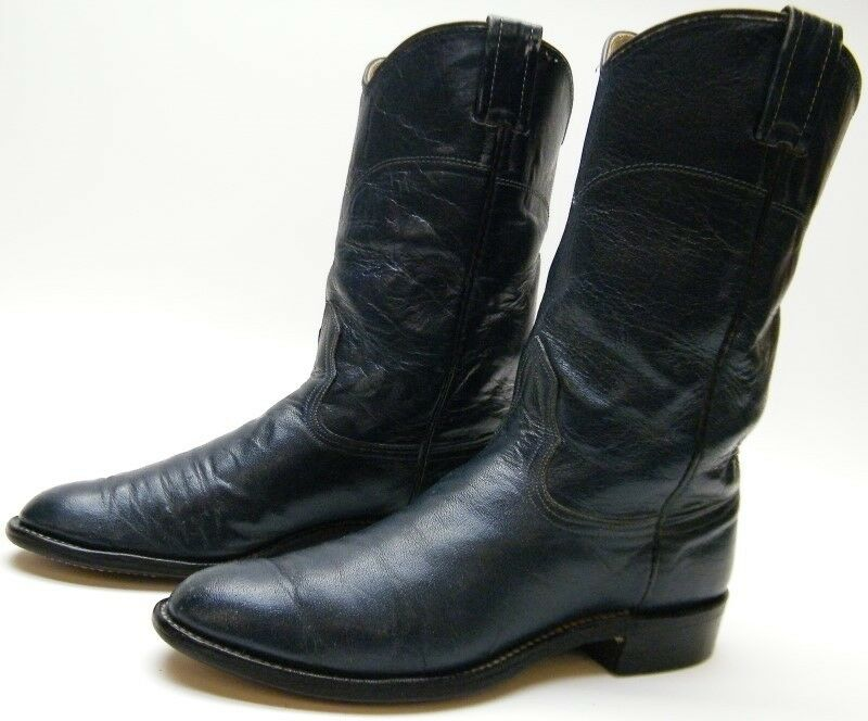 VTG NOCONA blueE EMBROIDERED FLOWER ROPER LEATHER COWBOY WESTERN BOOTS 6.51 2 B