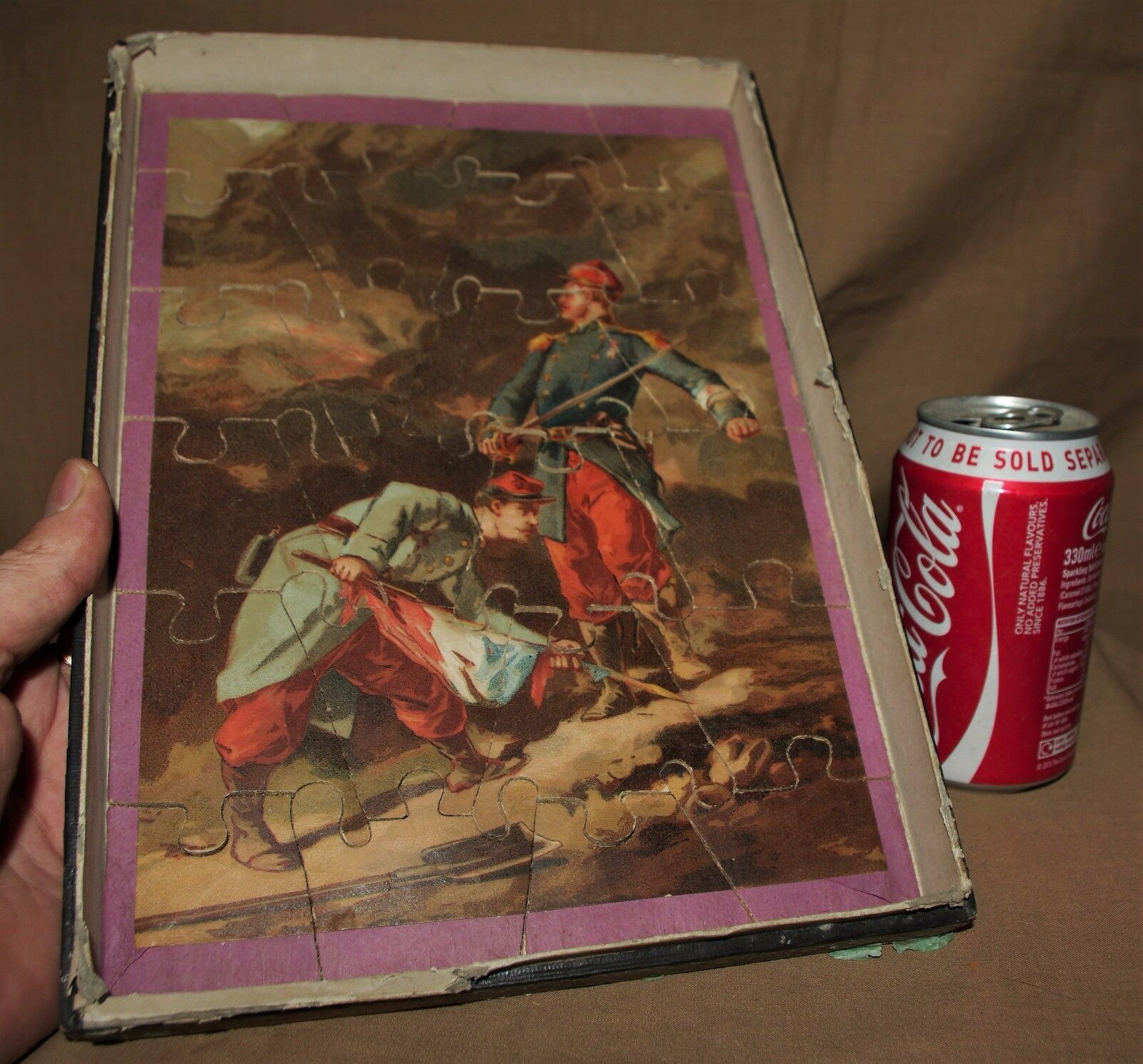 VINTAGE VICTORIAN PUZZLES JIGSAWS TWO SOLDIER WAR BATTLE ARMY 03