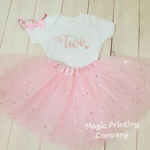 Image Is Loading Girls 2nd Birthday Outfit Tutu Rose Gold Amp