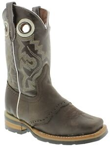 Childrens Kids Boys Black Real Leather Riding Cowboy Boots Rodeo Western Square