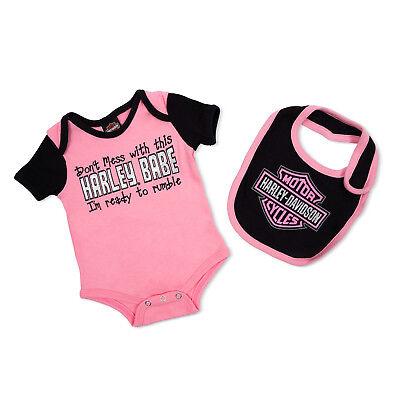Orange//Black Harley Davidson Leotard /& Bib For Infant /& baby Kid