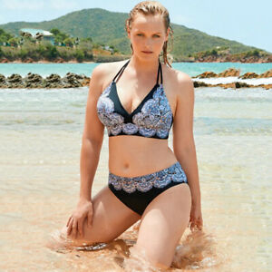 83b165f4bf0 Details about Women Plus Size Halterneck Floral Backless Lace Up Bikini Sets  Padded Swimwear
