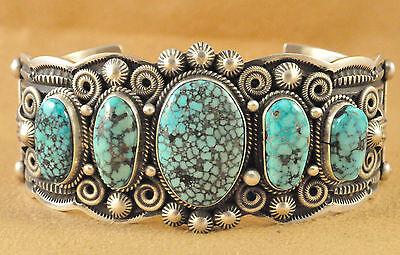 Navajo Sterling Silver Kingman Turquoise Row Cuff Bracelet By Darrell Cadman