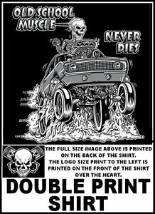 1969 Old School Hot Rod Drag Wheelie Muscle Car Blower Skull T Shirt