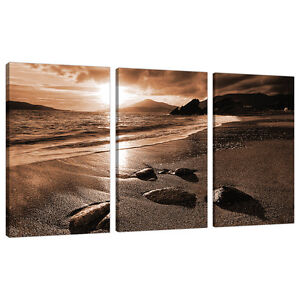 Image Is Loading 3 Part Brown Sepia Canvas Pictures Wall Art  Part 42