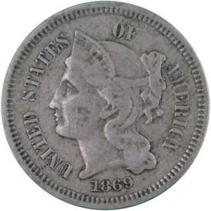 1869 Three Cent Piece F Fine Nickel 3c US Type Coin Collectible