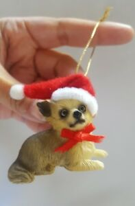 Small-DOG-CHRISTMAS-with-santa-hat-Xmas-Tree-Holiday-ORNAMENT-Figurine-used