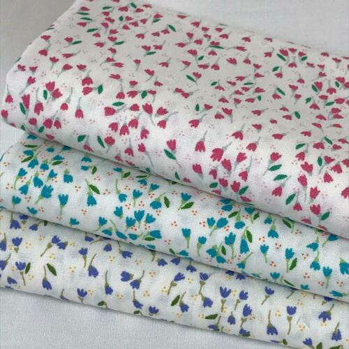 Craft Ditzy tulips Floral Printed  100/% Cotton Fabric Sewing UK SELLER