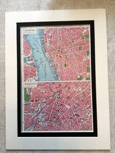 Antik-Karte-Druck-Stadt-von-Liverpool-Manchester-Fluss-Mersey-Vintage-Kunst