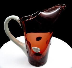 STUDIO-ART-GLASS-AMETHYST-amp-WHITE-MILK-GLASS-LEAVES-HANDLE-8-5-034-ICE-LIP-PITCHER