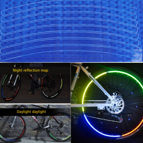 8PCS,Rim Stickers Reflective Tape 8mm Motorcycle Motorbike Safety Fluorescent