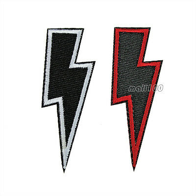 High Voltage Sign Glitter Lightniing Bolt Patch Iron Sew On Embroidered Applique