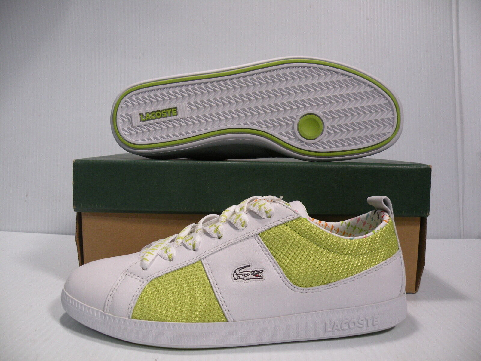 LACOSTE OBSERVE TNS SPORT LOW WOMEN SHOES WHITE GREEN 13SPW1961-F01 SIZE 8 NEW