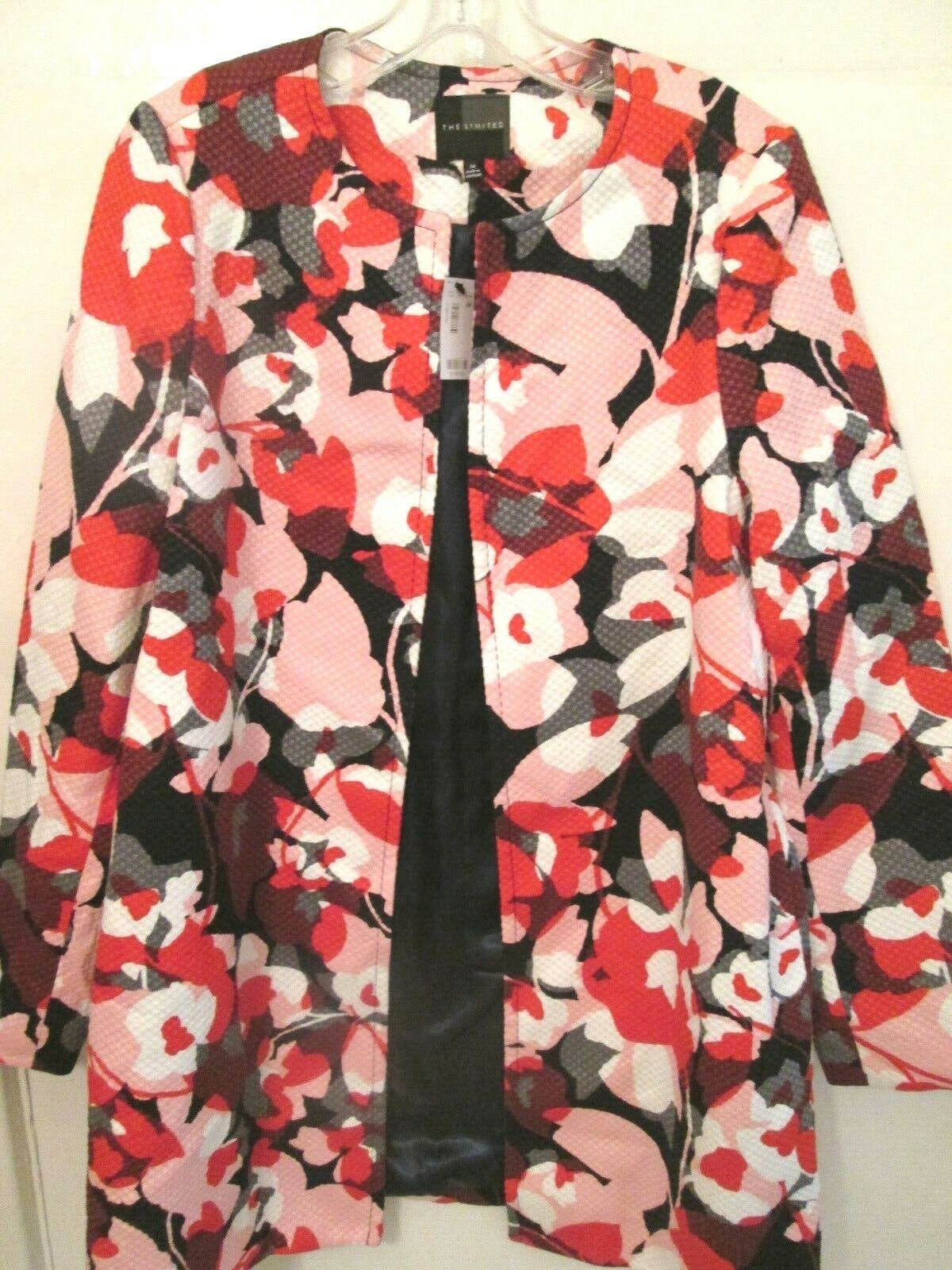 The The The Limited Ladies Size Medium Pink & Red Print Swing Front Coat - Nwts Rtl  160 4ff8fd
