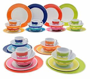 Image is loading 16pcs-Melamine-Colourful-Dinner-Set-Plates-Bowls-Mugs-  sc 1 st  eBay & 16pcs Melamine Colourful Dinner Set Plates Bowls Mugs BBQ Camping ...