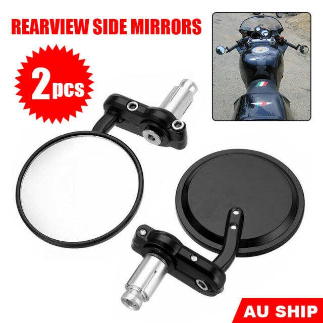 "2X Motorcycle Bar End Mirrors Universal 7/8"" Side Rearview Motorbike Cafe Racer"