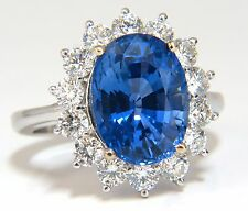 GIA Certified 7.39ct Natural No Heat Blue Sapphire Diamond Ring Unheated 18kt