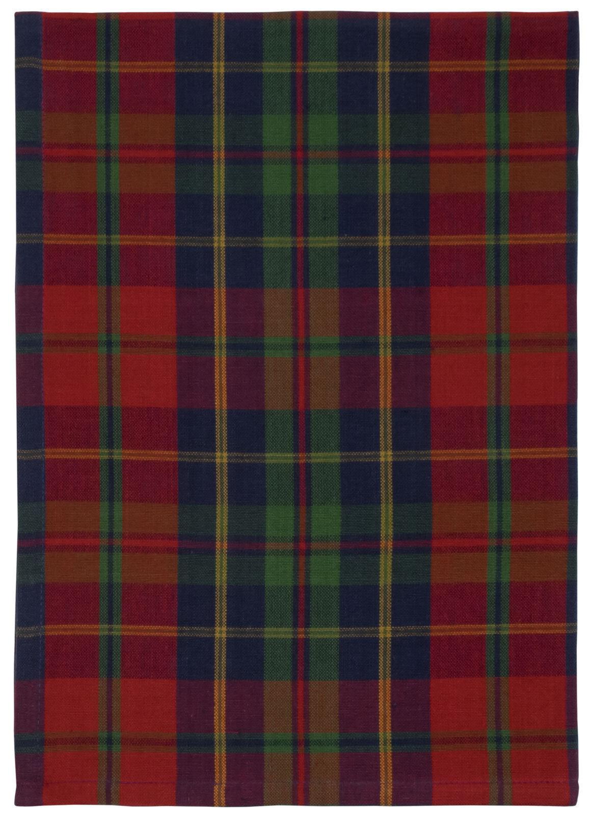 100% Cotton rot Blau & Grün Plaid 20 x28  Dish Towel, Set of 6 - Marlow