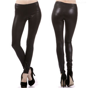 Sexy-Black-Solid-Faux-Leather-Leggings-Full-Length-Long-Skinny-Pants-S-M-L