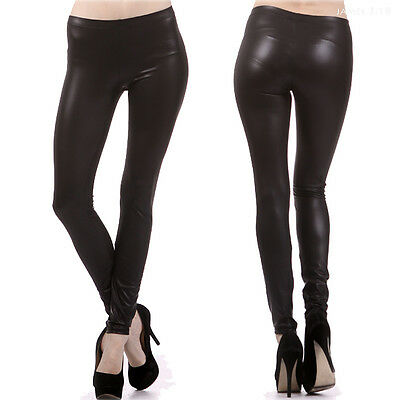 Sexy Black Solid Faux Leather Leggings Full Length Long Skinny Pants S M L
