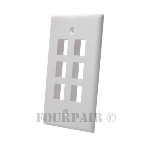 50 Pack Lot Keystone 6 Hole Port Jack Wall Face Plate Network CAT5e CAT6 White