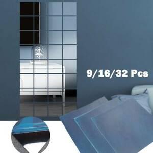 32x 15cm Mirror Tile Wall Sticker Square Self Adhesive Room-Decor Stick On Art