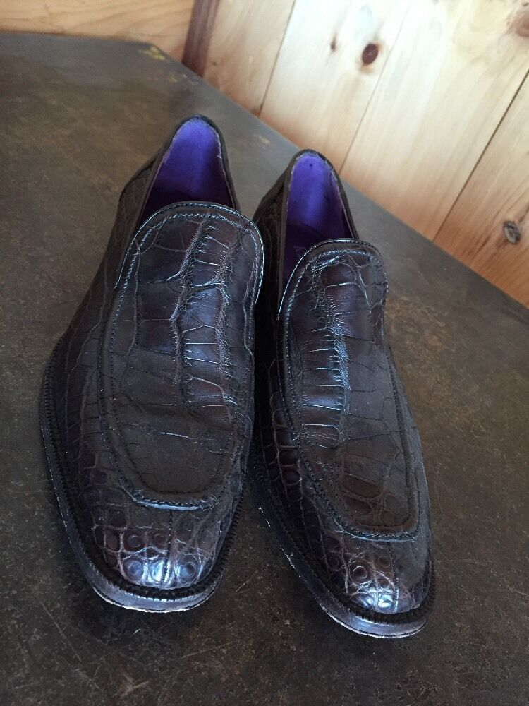 RALPH LAUREN MATTE Genuine ALLIGATOR LOAFERS shoes PURPLE LABEL Mint