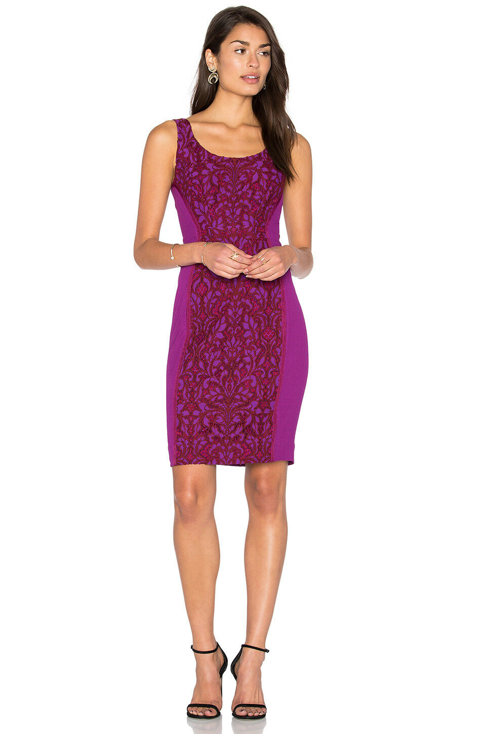 NWT Diane von Furstenberg Geovana Lace Panel Sheath Dress lila Amethyst