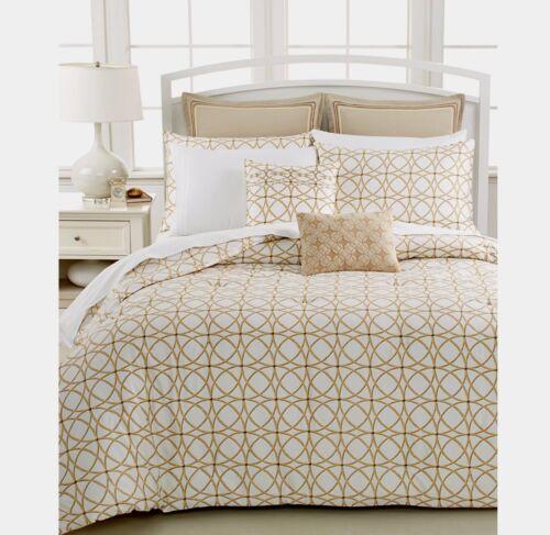 $319 Barbara Barry Corso 100/% Cotton Cognac-White//Gold King Duvet Cover