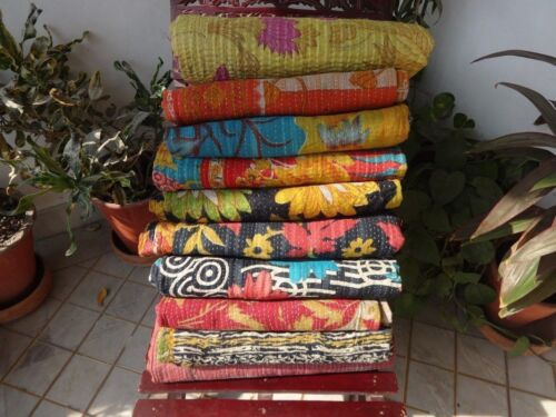 Handmade Indian Sari Vintage Kantha Ralli Throw Twin Size Patchwork Cotton Quilt