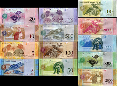 VENEZUELA SET 7 UNC 2 5 10 20 50 100 500 BOLIVARES RANDOM DATES P 88-93 NEW