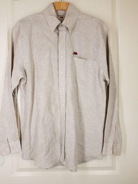55c47b1a53 PERLIS Linen Button Down Shirt Size MED or larger Tan VERY GOOD   eBay