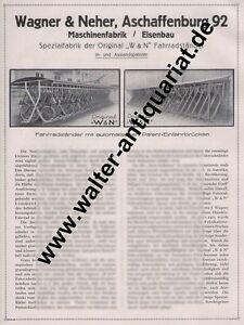 Wagner-amp-Neher-Aschaffenburg-Fahrrad-Staender-Grosse-Werbeanzeige-von-1927-Reklame