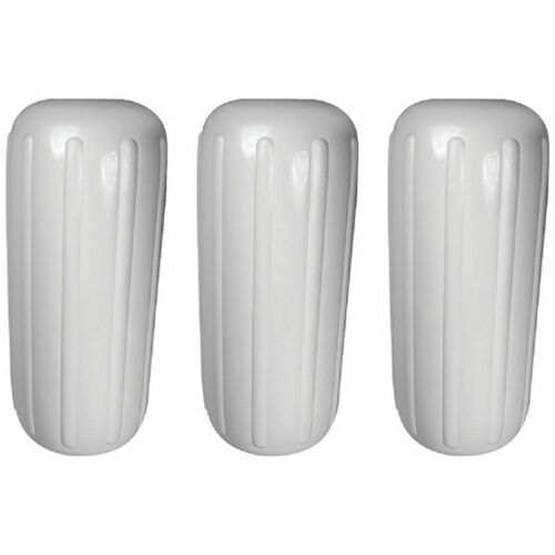 3 Pack 10 Inch x 25 Inch Center Hole White Inflatable Vinyl Fenders for Boats